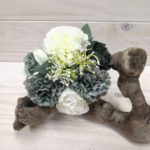 Carnation & Rose Bouquet - Teal/White